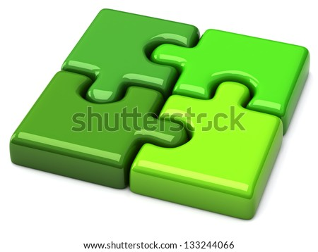 Green solved jigsaw puzzle icon, 3d - stock photo