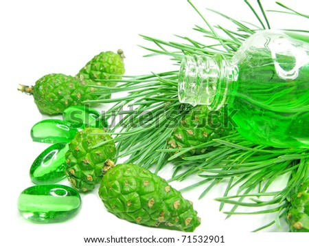 green spa aroma oil bottle with fir natural coniferous extract - stock photo