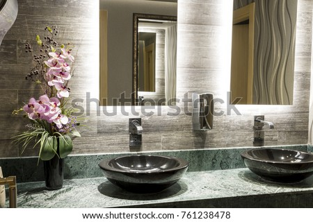 Green Special Design Marble Counter Black Stock Photo