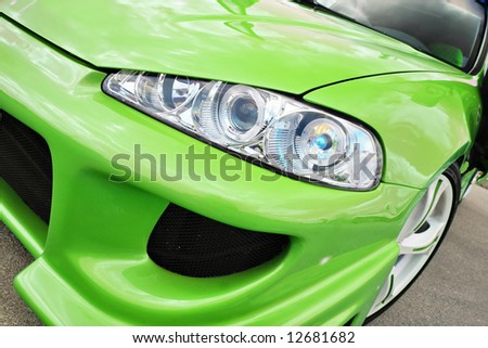 Green Sport Car - aggressive look - stock photo