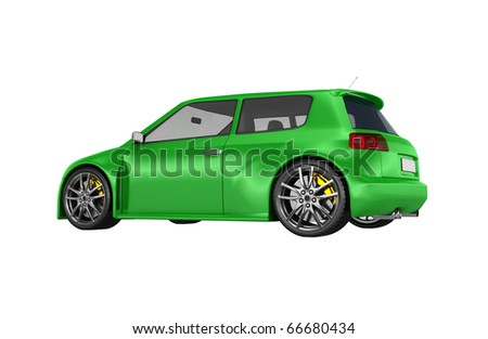 Green sports car isolated on white. No trademark issues as the car is my own design. This is a detailed 3D render. - stock photo