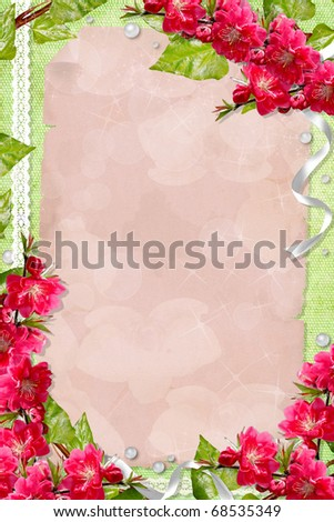 Green spring background with card,  flowers and frames - stock photo