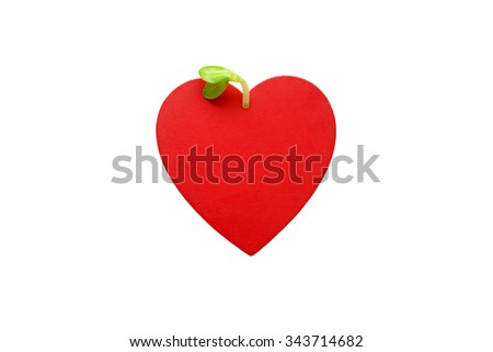 green sprout plants from red heart. plant sprout emerges from a red heart, isolated on white background. the concept of love, pregnancy, growth and development  - stock photo