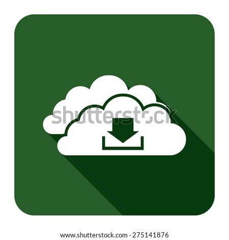 Green Square Cloud Computing With Download Flat Long Shadow Style Icon, Label, Sticker, Sign or Banner Isolated on White Background - stock photo