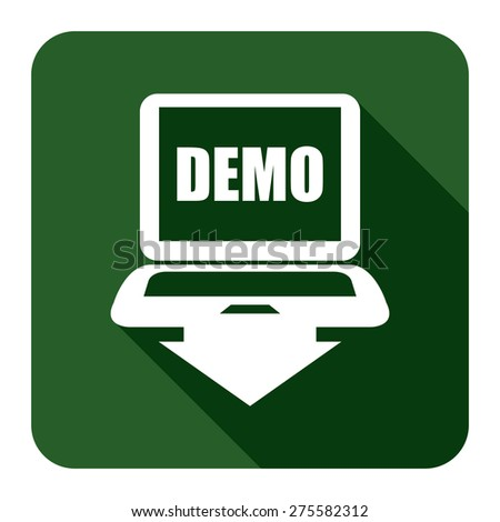 Green Square Computer Laptop With Demo Text on Screen Monitor Flat Long Shadow Style Icon, Label, Sticker, Sign or Banner Isolated on White Background - stock photo
