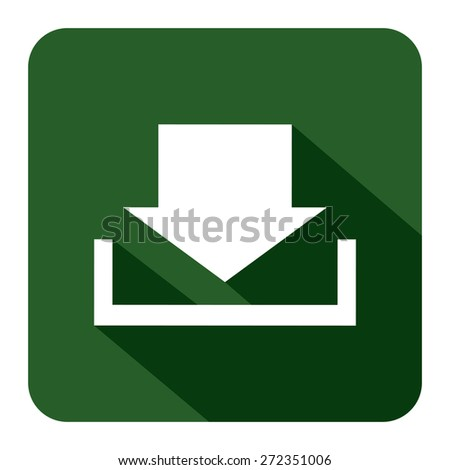 Green Square Download Long Shadow Style Icon, Label, Sticker, Sign or Banner Isolated on White Background - stock photo