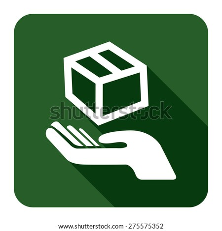 Green Square Hand With Box, Handle With Care, Do Not Drop Flat Long Shadow Style Icon, Label, Sticker, Sign or Banner Isolated on White Background - stock photo