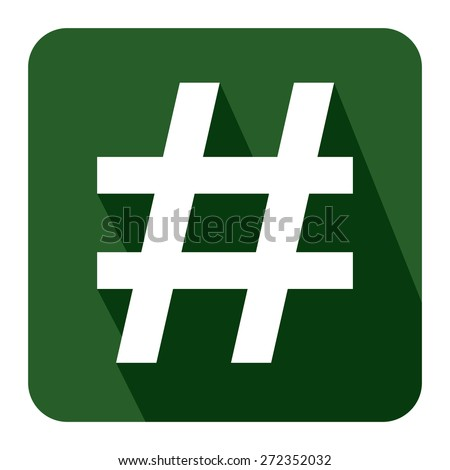Green Square Hashtag, Tag Long Shadow Style Icon, Label, Sticker, Sign or Banner Isolated on White Background - stock photo