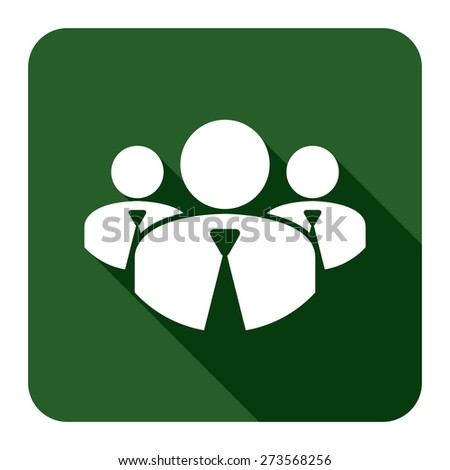 Green Square Member, Group of Businessman Long Shadow Style Icon, Label, Sticker, Sign or Banner Isolated on White Background