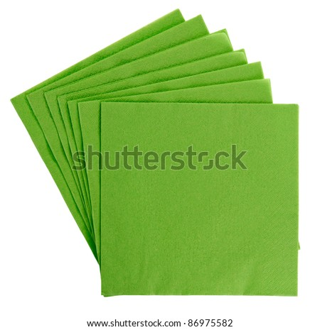 Green square paper serviette (tissue), isolated on white - stock photo