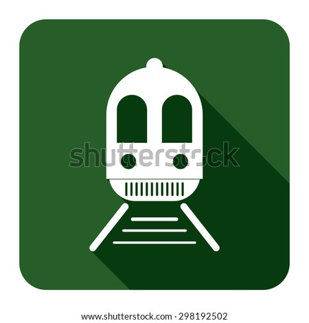 Green Square Train, Subway Station or Railway Station Flat Long Shadow Style Icon, Label, Sticker, Sign or Banner Isolated on White Background - stock photo