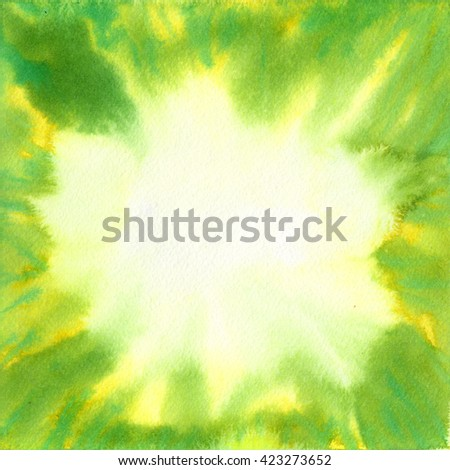 Green square watercolor backdrop. Hand painted stains. Abstract background. Ink spreading. Light in the center, saturated at the edges. - stock photo