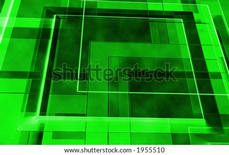 Green squares in space - abstract - stock photo