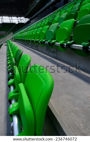 Green stadium seats - stock photo
