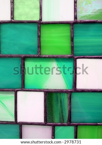 Green Stained Glass Panel - stock photo