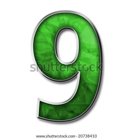 Green stained glass with silver number 9 - stock photo
