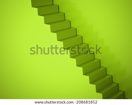 Green stairs concept rendered - stock photo
