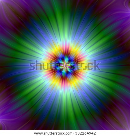 Green Starlight / An abstract fractal image with a star light design in green, purple, yellow and blue.