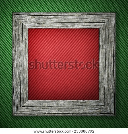 Green striped background with wooden frame - stock photo