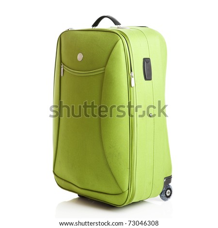 Green suitcase isolated over a white background - stock photo