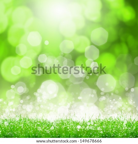 Green summer meadow with sun glare and rays