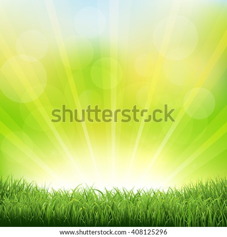 Green Sunburst Background With Green Grass And Sunburst - stock photo