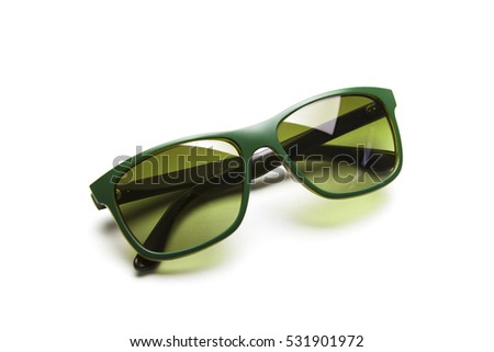 Green Sunglasses. Isolated on white background