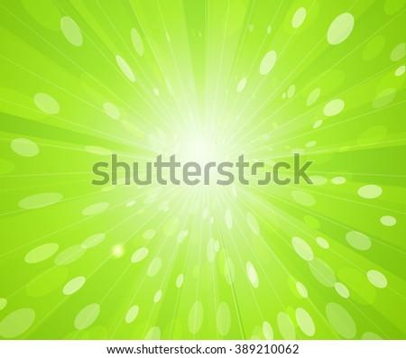 Green sunny rays background. Spring sunbeam  - stock photo