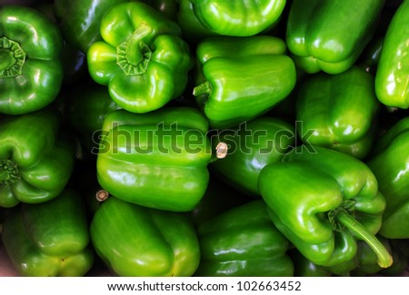 Green sweet pepper, cooking raw material. - stock photo