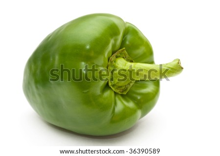 Green sweet pepper on a white background.