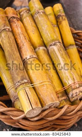 Green sweet sugarcane in wooden basket on floor - stock photo