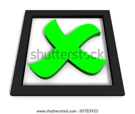 Green symbol of check mark on white background. 3D render. - stock photo