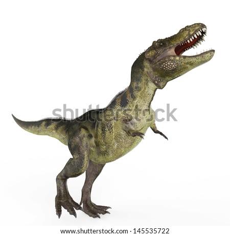 green t rex walking - stock photo