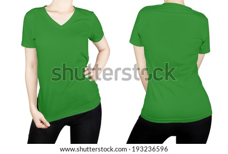 Green T-shirt on woman body with front and back side isolated on white background.