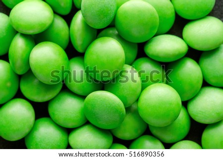 Green Tablets Or Drugs In The Form Of Round Shape. Closeup. Macro.
