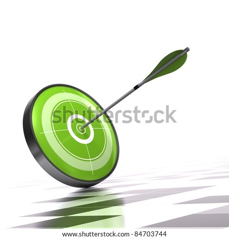 Green target and arrow over a checker background - stock photo