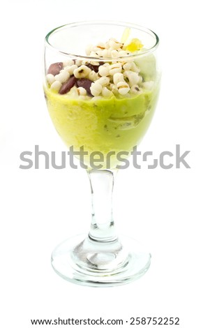green tea and durian Ice cream in glass on white - stock photo