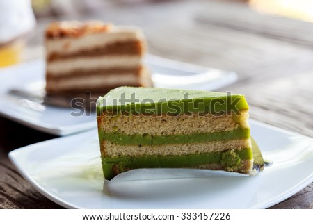 Green tea cake - stock photo