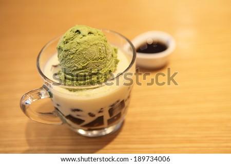 Green tea ice cream - stock photo