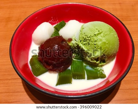 green tea ice cream japanese dessert with res bean paste and moji