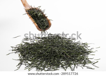 Green tea leaves full frame and wooden scoop