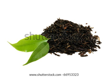 Green tea leaves isolated on white - stock photo