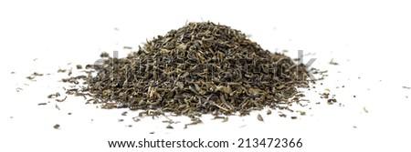 Green tea leaves. Panoramic image. - stock photo