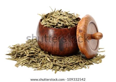 Green tea - Longjing on white background - stock photo