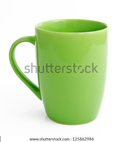 Green tea mug or cup isolated on white background - stock photo