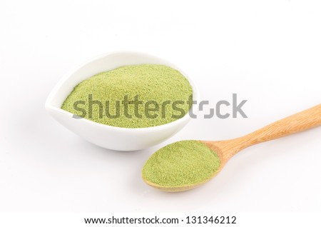 green tea on a white background - stock photo