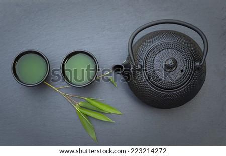 Green Tea Pot  - stock photo