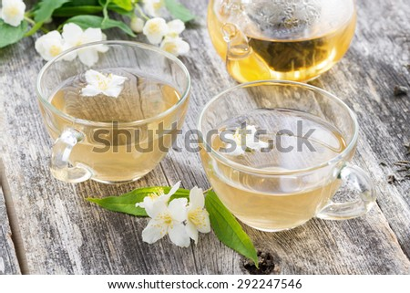green tea with jasmin, close-up - stock photo