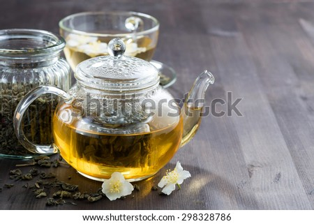 green tea with jasmin, horizontal - stock photo