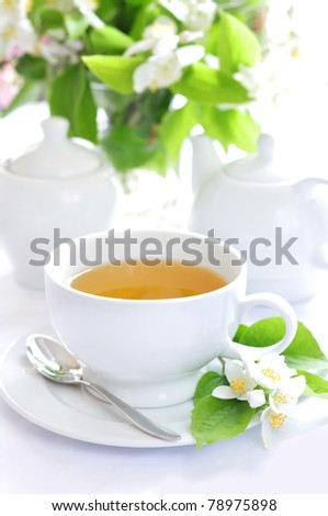 Green tea with jasmine - stock photo